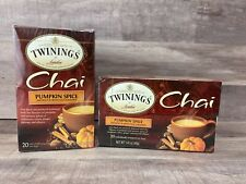 2 boxes = 40 bags Twinings Chai PUMPKIN SPICE Caffeinated Black Tea Exp. 2022