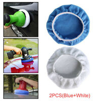 2PCS Microfiber Car Polishing Waxing Polisher Bonnet Buffing Pad Cover 5-6inches
