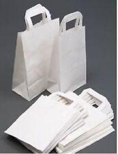 25 MEDIUM WHITE KRAFT PAPER SOS CARRIER BAGS (220X250X110mm Approx.) Brand New