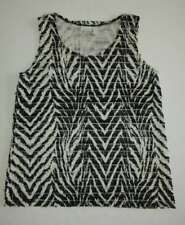 CHICO'S 3 XL Black & White Zebra Tiered Sleeveless Nylon Stretch Top