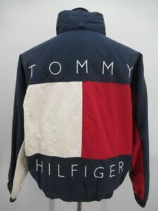 P4977 VTG 90's Tommy Hilfiger Men's Spell-Out Big Logo Reversible Jacket Size M