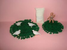 8 pc Dollhouse Miniatures 2 Round Rugs 4 Pidgeons Baby Sack of Potatoes