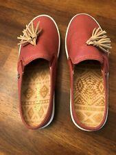 Pair of Spenco Mules Slip On Canvas Size 7W Rust Tassel Tan Balance Man Made