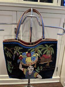 NEW Isabella Fiore Beaded Canvas Leather Tote Purse Handbag