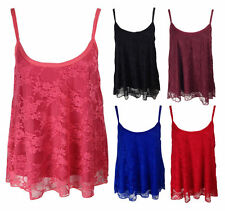 Women's Sleeveless Lace Vest Top, Strappy, Cami Tops & Shirts