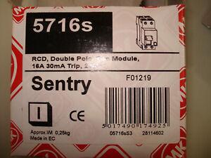 5716s Sentry MK 16 A RCD Switch,Trip Sensitivity 30mA - Box of 5 - UNUSED (22_A)