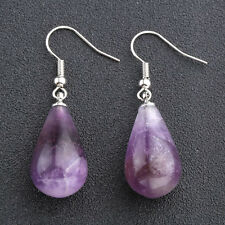 2x Fashion Amethyst Gemstone Teardrop Dangle Ear Stud Drop Copper Hook Earrings