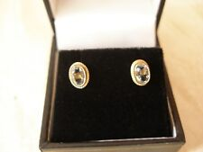 PAIR OF 9 CARAT GOLD AQUAMARINE STUD EARRINGS MADE IN ENGLAND BRAND NEW IN BOX
