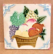 New listing Basket of Fruit Tile, Dk, Japan, 1920's, Ceramic, 6x6, Danto Kaisha