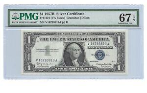 1957B $1 SILVER CERTIFICATE PMG SUPERB GEM UNCIRCULATED 67 EPQ, V/A BLOCK