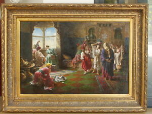 "Fine art framed Repro oil painting on board figures100% hand-painted 24""x36"""