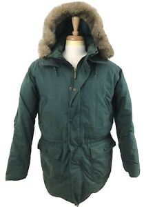 LL Bean Goose Down Heavy Puffer Fur Hood Green Long Coat Parka Mens Large Tall