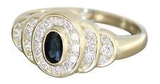 Eleganter Goldring 585 mit Saphir und Zirkonias - edler Ring Gold Damenring 14kt