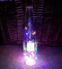 Clear Wine Bottle Lamp Multicolour LED Light Upcycled Gift Idea