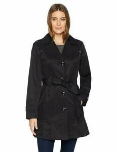 Gallery Women's Ladies Belted Trench Coat, Black, Large