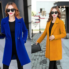 Womens Double-breasted Woollen Coat Midi Long Cashmere Jackets Trench Size S-4XL