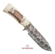RUSSIAN HUNTING CUSTOM HANDMADE KNIFE Bear Damascus Steel BLADE Collectible