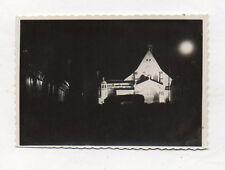 PHOTO ANCIENNE Snapshot Lune Nuit Éclairage Lumière Vers 1930 Église nocturne
