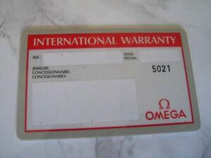 OMEGA INTERNATIONAL GUARANTEE WARRANTY CARD NEW, UNUSED, BLANK             *6741