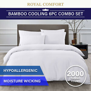 Royal Comfort 2000TC 6 Piece Bamboo Sheet & Quilt Cover Set Cooling Breathable