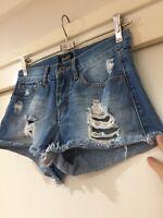 Bardot Denim Ladies High Waisted Shorts Blue Size 6 Good Condition