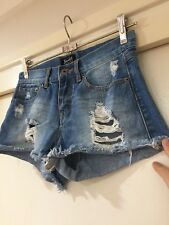 Bardot Denim Ladies High Waisted Shorts Blue Size 6 Good Condition