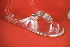 NEW MODA PANA SILVER CLEAR CRYSTALS THONG FLIP FLOP SANDALS SIZE 9 MED