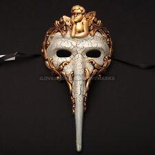 Venetian Long Nose Angel Masquerade Capitano Carnivale Men Mask - White Gold