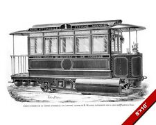 CLASSIC VINTAGE CABLE CAR TRAM ILLUSTRATION PAINTING ART REAL CANVAS PRINT