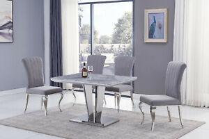 Apollo Arturo Grey MARBLE Dining Table 120 cm & Black or Grey Chairs