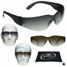2 PAIRS Z87 Safety Rated BIFOCAL Sunglass READERS Sports Wrap Brown & Smoke Lens