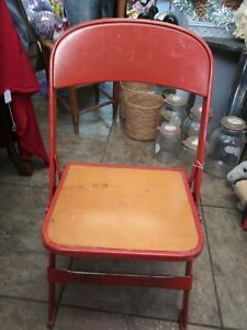 Clarin Mid Century Metal Childs Folding Chair Wood Seat