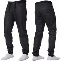 NEW MENS CUFFED JEANS EZ377 DENIM REGULAR FIT JOGGERS STYLE IN BLACK SIZES 28-48