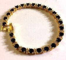 "GB Black 4mm round onyx & diamantes 7.2""  tennis bracelet, gold GF BOXED Plum UK"