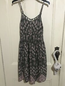 Red Herring pink and green elephant print dress size 8