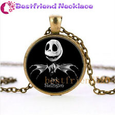 NEW Nightmare Before Christmas jack and skull wing bronze glass necklace#TKL15