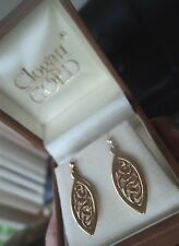 Clogau 9ct Yellow & Rose Gold Queen Eleanor Celtic Earrings h/m 1999  -  pierced