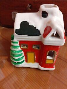 CHRISTMAS Ceramic Village Cottage Tea Light Holder With  Chimney