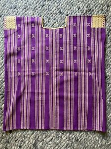 Purple cotton Mexican handwoven hand embroidered huipil top blouse small