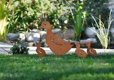 Gartenstecker Entenfamilie 4-er Set, Gartenfiguren, Metall Rostoptik, Enten