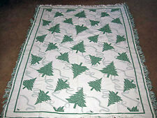 Vintage Christmas Tree Cotton Toile Afghan Throw