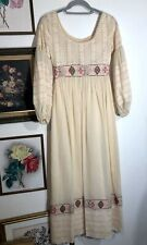 Vtg 70s Boho Hippie Lace Floral Embroidered Maxi Dress Size Small Medium