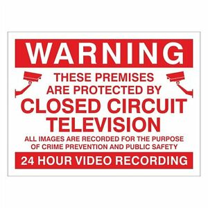 Pack of 100 CCTV 24 Hour Video Recording Sign  200mm x 150mm (CC.21W-RP)