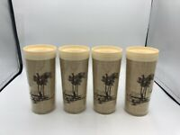 Set Of 4 Vintage Thermo-Serv Insulated Palm Tree Burlap Plastic Tumblers