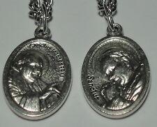 "Pope St John XXIII & Pope St John Paul II - Two-Sided Holy Medal on 24"" Chain"