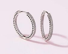 Pandora Hoop Earrings~Sparkle & Hearts~Silver
