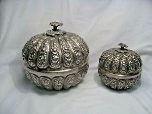 2 Antique 800 SILVER REPOUSSE Floral Bowls / Jars. 998 grams - 32 troy oz
