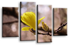 FLORAL FLOWER ART Picture Yellow Grey White Spring Love Canvas Split Panel