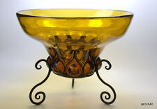 Blown Reticulated Amber Glass Wrought in Iron Armature Art Deco Vase Open Pontil