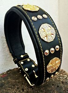 BESTIA studded leather collar. 2.5 inch wide. Rottweiler cane corso Dogo Bulldog